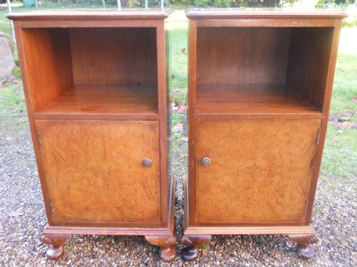 Pair Queen Anne Style Walnut Wood Bedside Cabinets